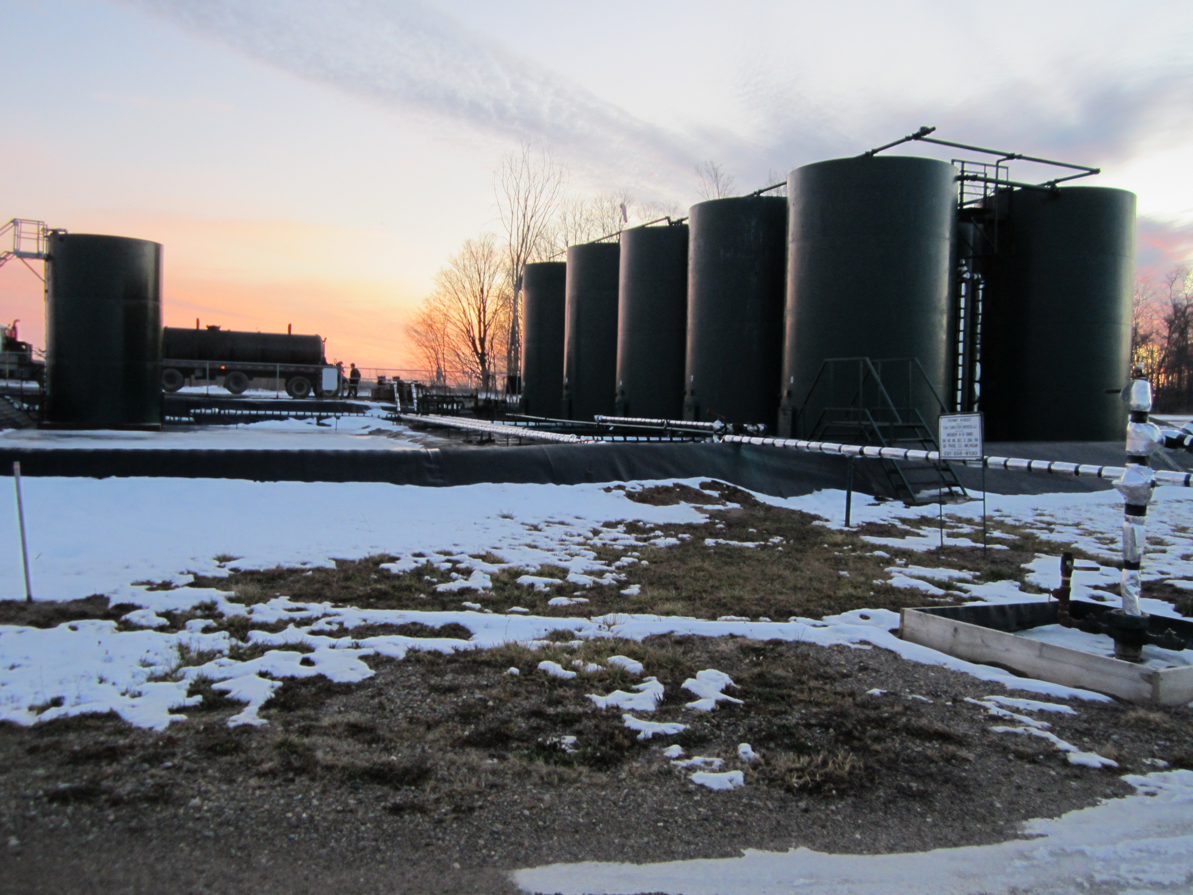 The injection well in Grand Traverse County where several deep frack well waste is taken for disposal, Weber 4-4. Photo by Ellis Boal. January 2012.
