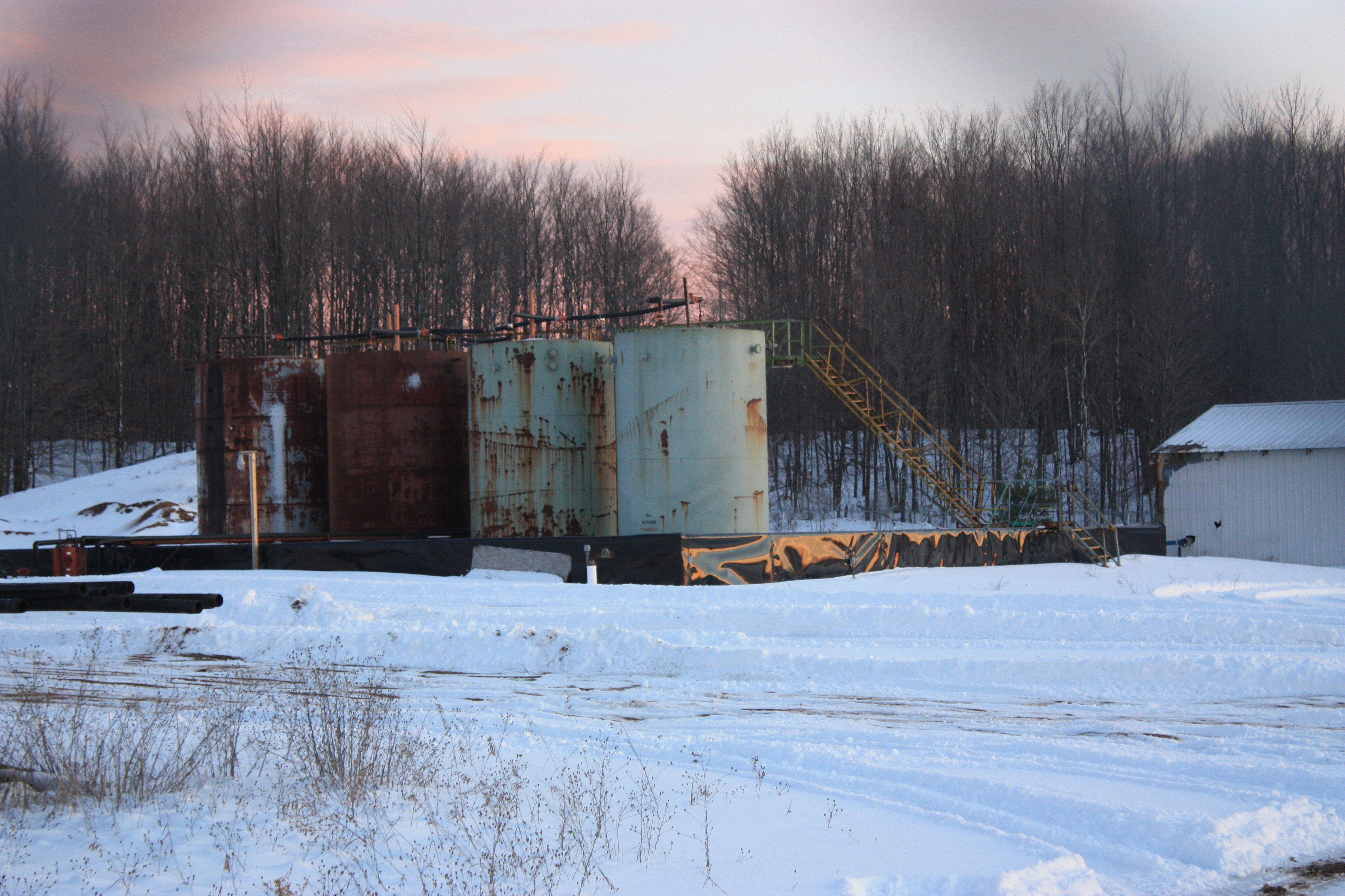 One of the many injection wells used to dispose of horizontal frack wastes in Michigan, the Slowinski injection well in Kalkaska County. Photo by LuAnne Kozma.