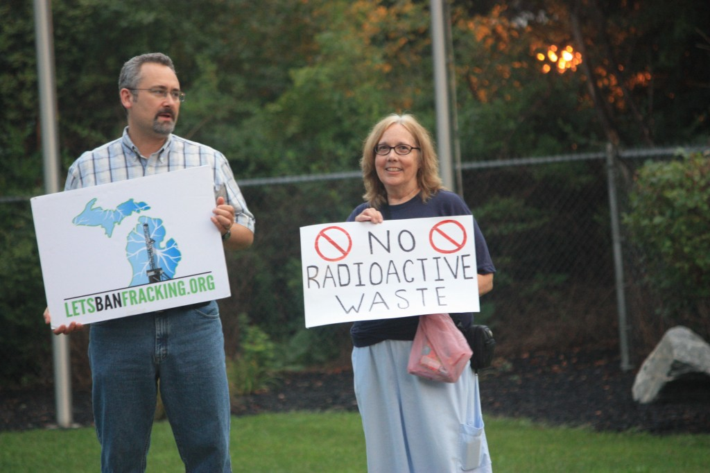 Committee to Ban Fracking in Michigan members protest outside frack waste facility near Belleville, August 2014.