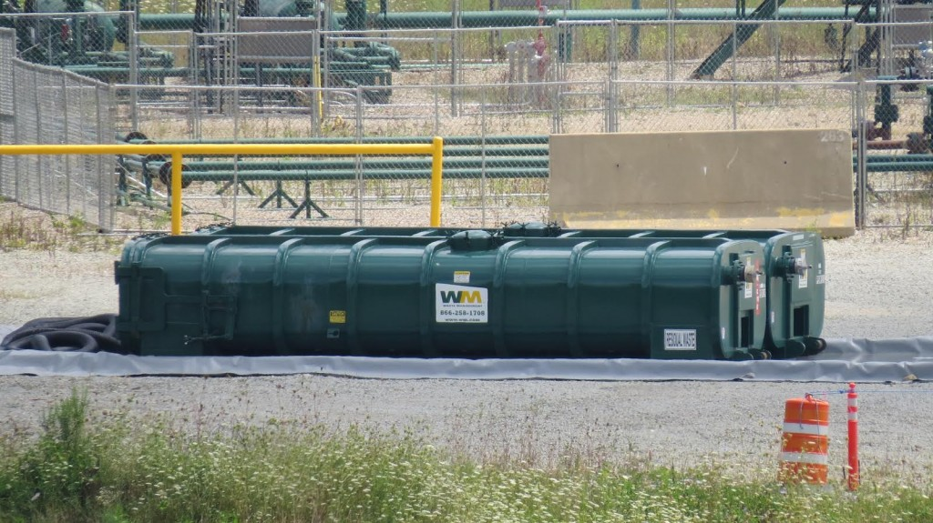 Radioactive frack sludge in Washington County, held for months at a Range Resource waste impoundment site, is now off the site and gone to who knows where. Submitted photo.
